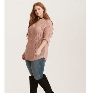 Torrid Lurex Cable Knit V Neck Sweater 4X